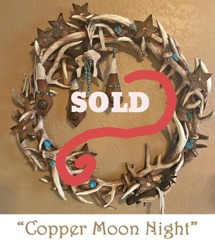southwestern - western style antler wreath with copper and turquoise from No Fences collection from  North Pole West