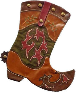 cowboy boot Christmas stocking with spur,western country southwestern decor