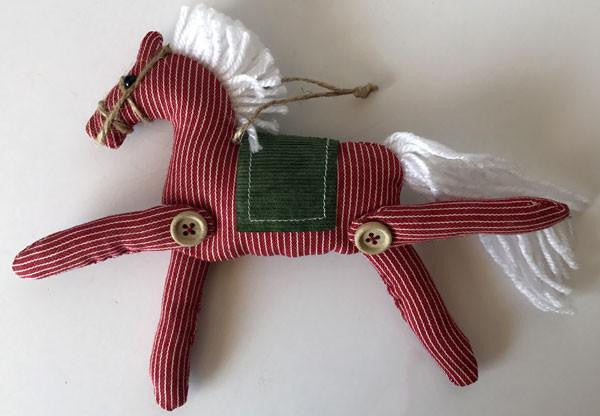 "Horse Christmas Ornament - Red & White - ""Soft Hearted Pony"""
