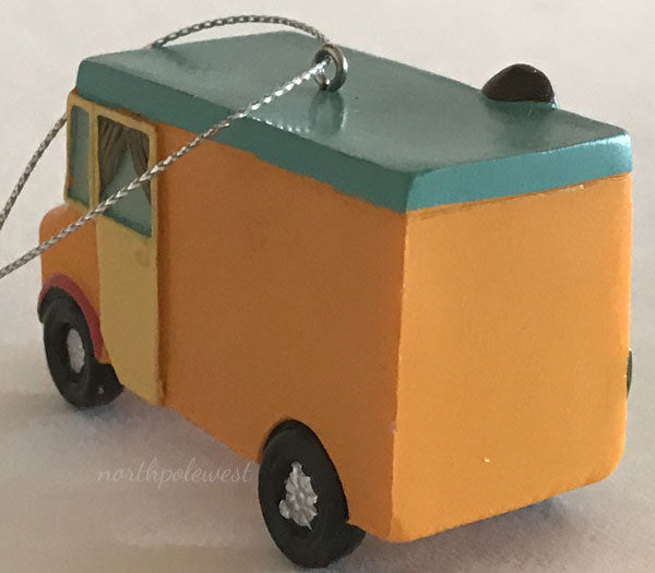 back of southwestern taco food truck Christmas ornament with mini cactus from North Pole West