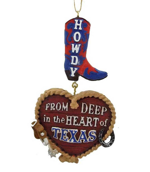 Texas boot with heart ,spur and horseshoe western cowboy Christmas ornament decoration