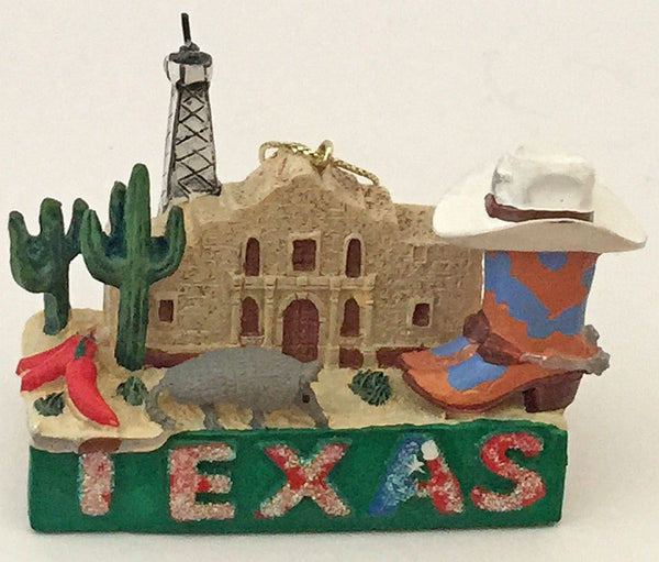 Texas Armadillo, Oil Well & Alamo Ornament
