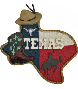 Texas Christmas ornament with cowboy hat,boot,broc buster and longhorn from North Pole West