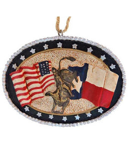 Texas and American flags with bull rider in center rodeo ornament