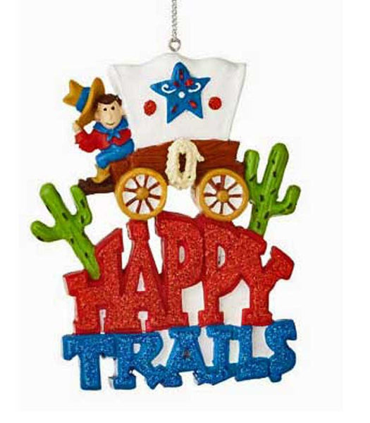 Happy Trails Covered Wagon Ornament - North Pole West Cowboy Christmas