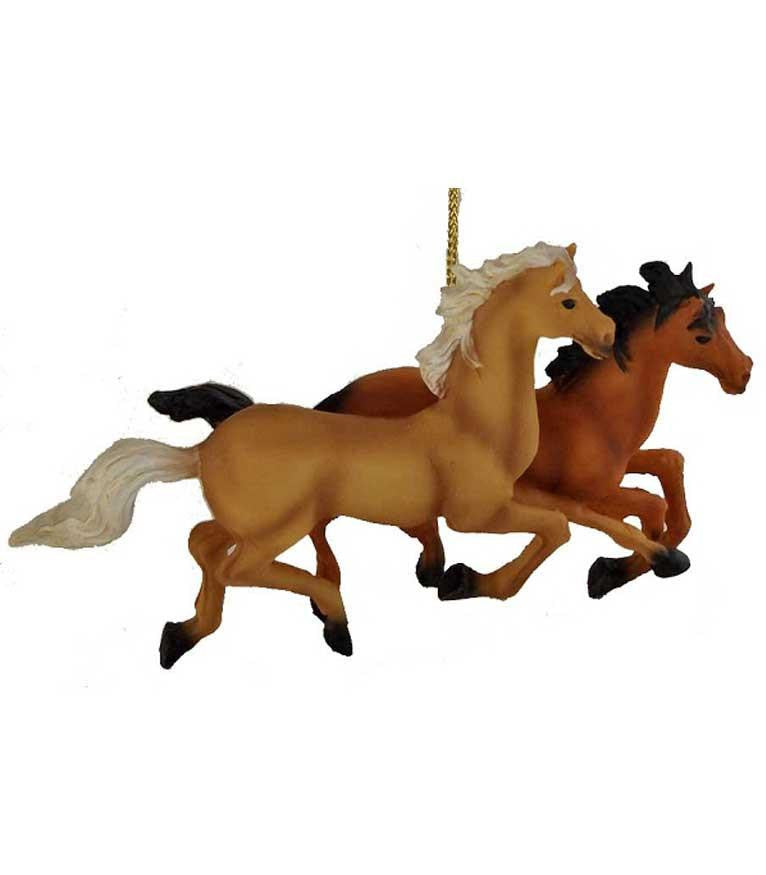 2 Wild Horses Running Western Christmas Ornament - North Pole West