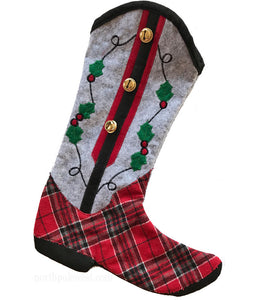 Grey and red plaid cowboy boot Christmas stocking with holly and  bells from North Pole West