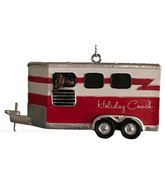 Red and White Horse trailer Christmas ornament from North Pole West