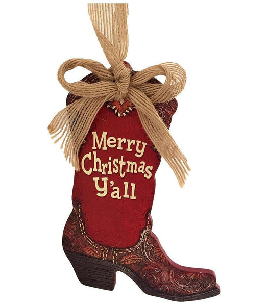 Large Cowboy Boot Ornament - Merry Christmas Y'all