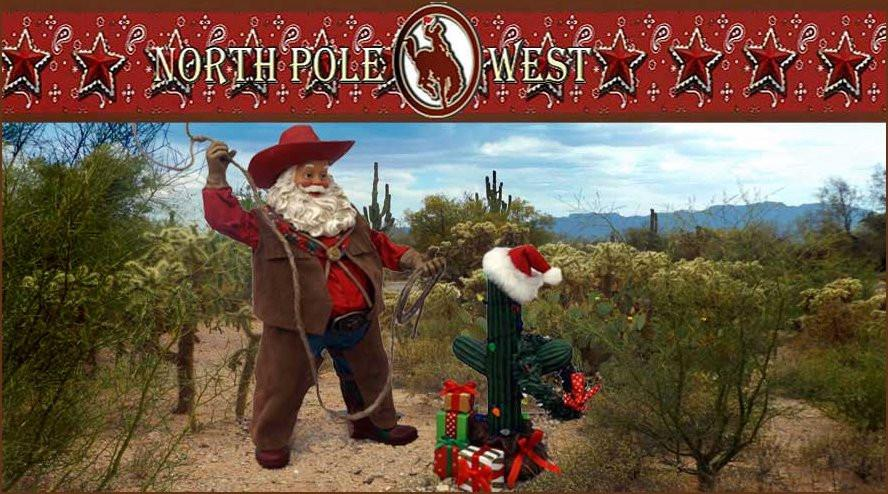 cowboy Santa with boots and hat lassos cactus