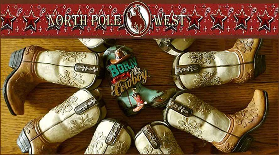 cowboy boot Christmas decorations from North Pole West