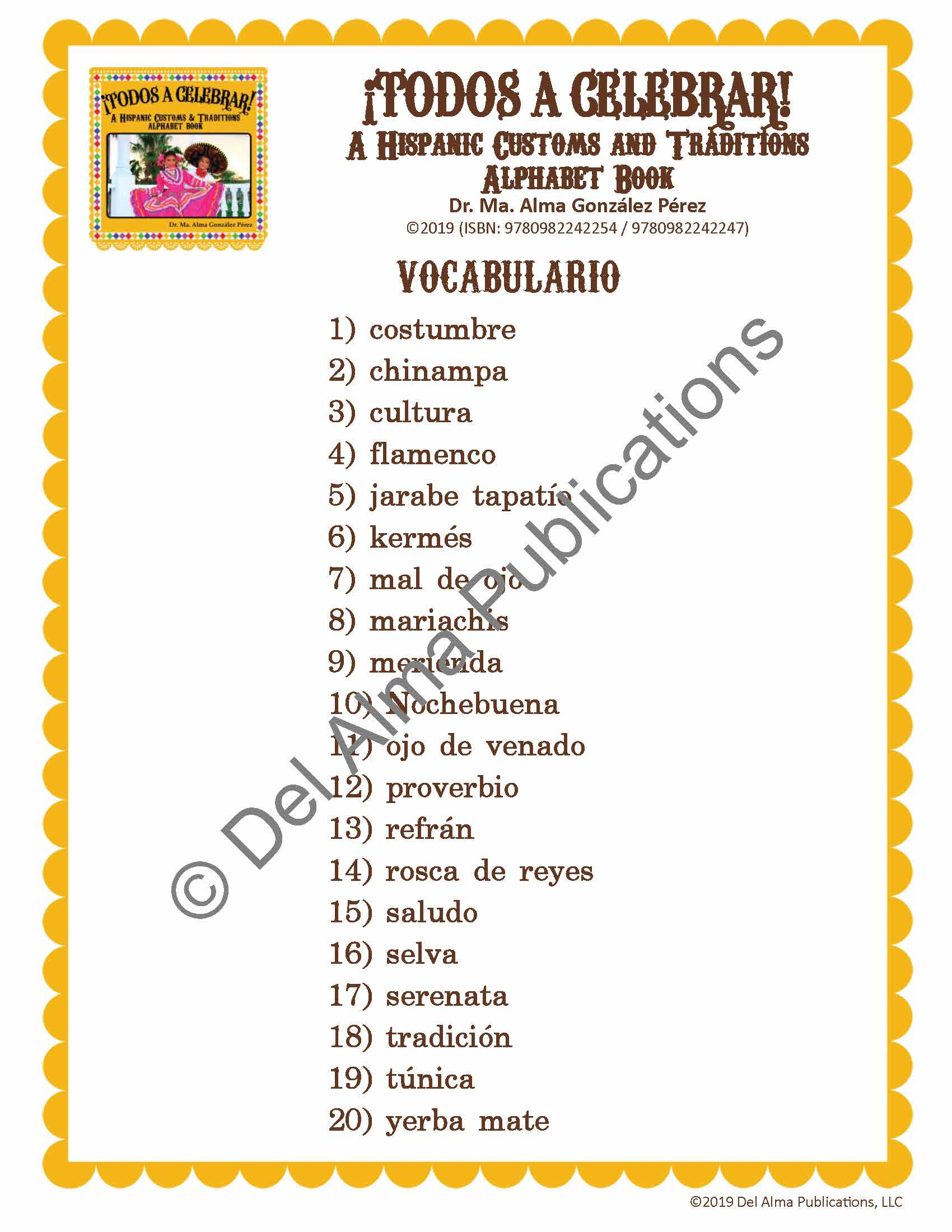 Hispanic Culture Vocabulary and Spelling Lists (Spanish)