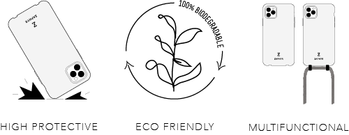 Zaphyr eco-friendly biodegradable crossbody phone case, biologisch abbaubare Handyhüle / Handykette
