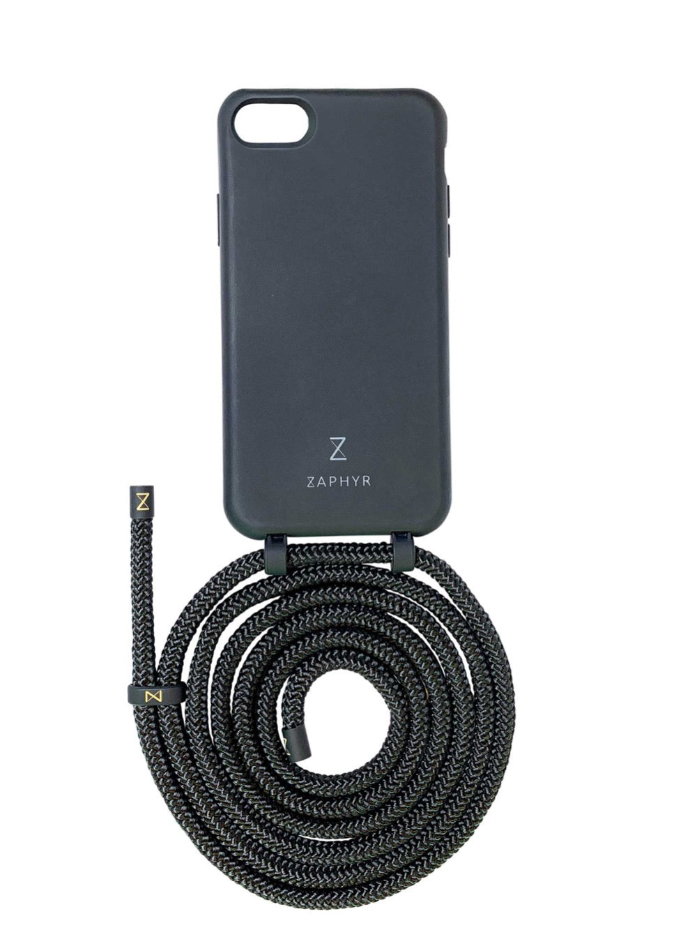 Zaphyr phone case iphone 7 / 8 / SE black with strap, crossbody phone case