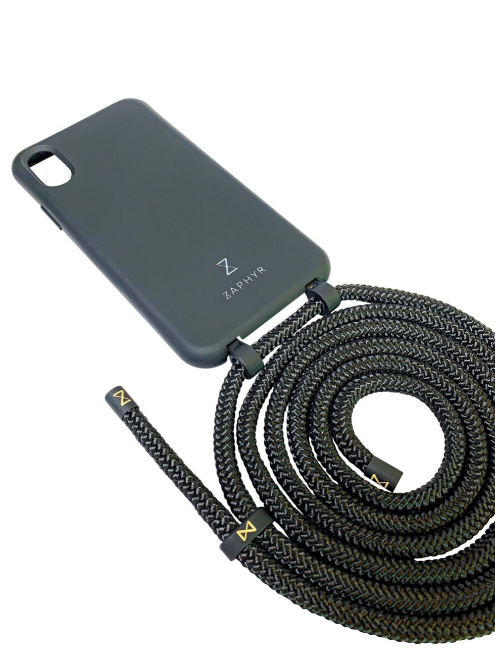 Zaphyr phone chain in black with detachable strap