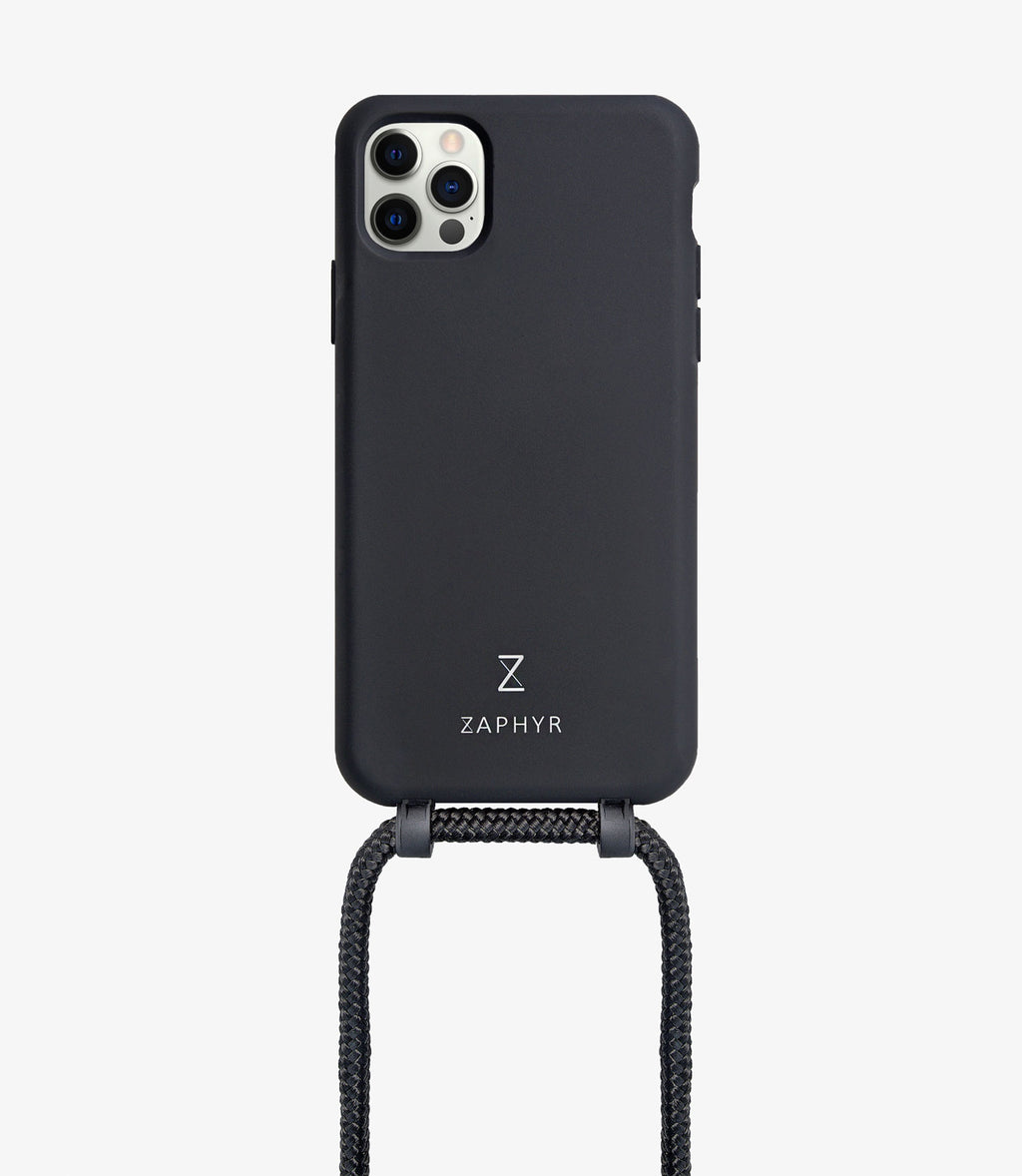 Zaphyr crossbody phone case for Apple iPhone12, iPhone 12 Pro, iPhone 12 mini, iPhone 12 Pro Max in black with black cord