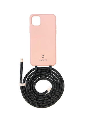 Zaphyr phone case iphone 11 pink blush with strap, crossbody phone case