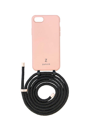 Zaphyr phone case iphone 7 / 8 / SE pink blush  with strap, crossbody phone case