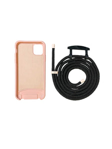 Zaphyr phone case pink blush with strap, crossbody phone case