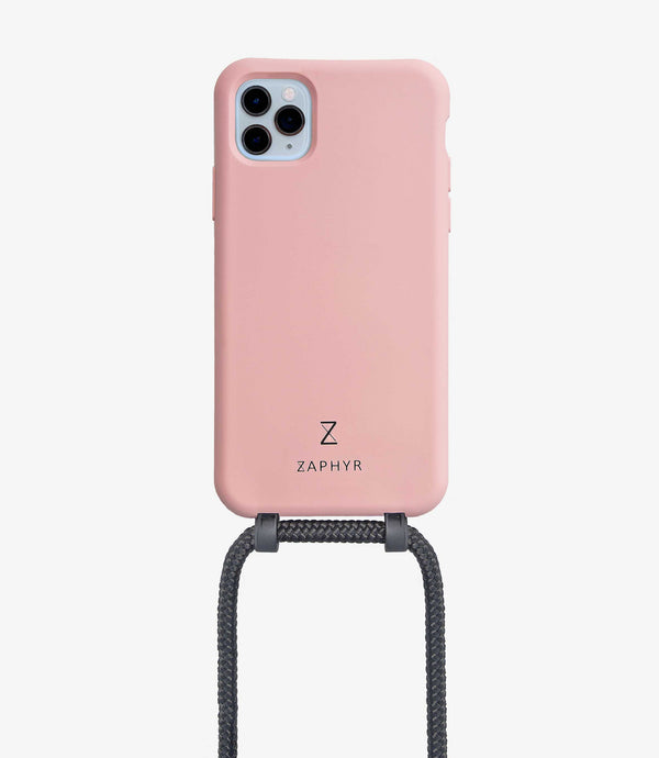 Zaphyr crossbody phone case for iphone, with detachable strap, light blush pink with black strap