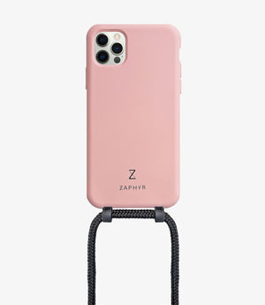 Zaphyr crossbody phone case for Apple iPhone12, iPhone 12 Pro, iPhone 12 mini, iPhone 12 Pro Max in light blush pink with black cord