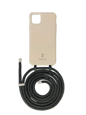 Zaphyr crossbody phone case for Apple iPhone12, iPhone 12 Pro, iPhone 12 mini, iPhone 12 Pro Max in mid grey with black cord