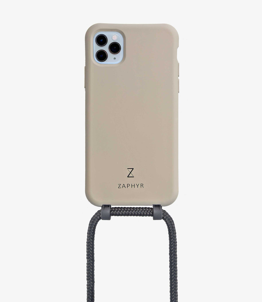Zaphyr crossbody phone case with detachable strap - Taylor Grey with black strap, iPhone 11 Pro