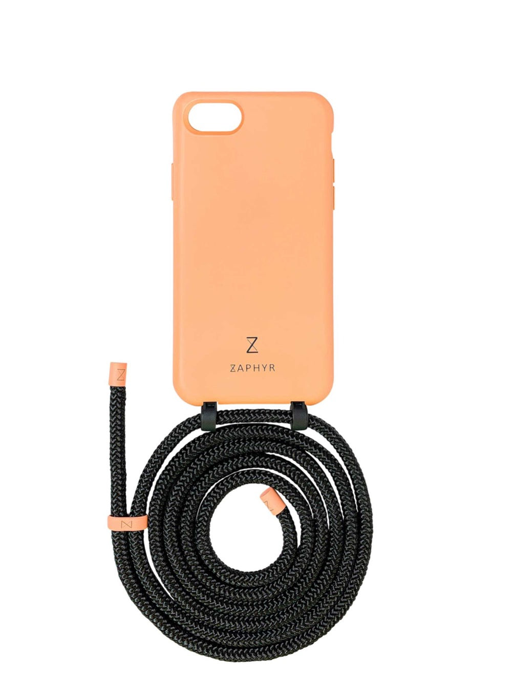 Zaphyr phone case apple iphone 7 / 8 / SE peach with strap, crossbody phone case