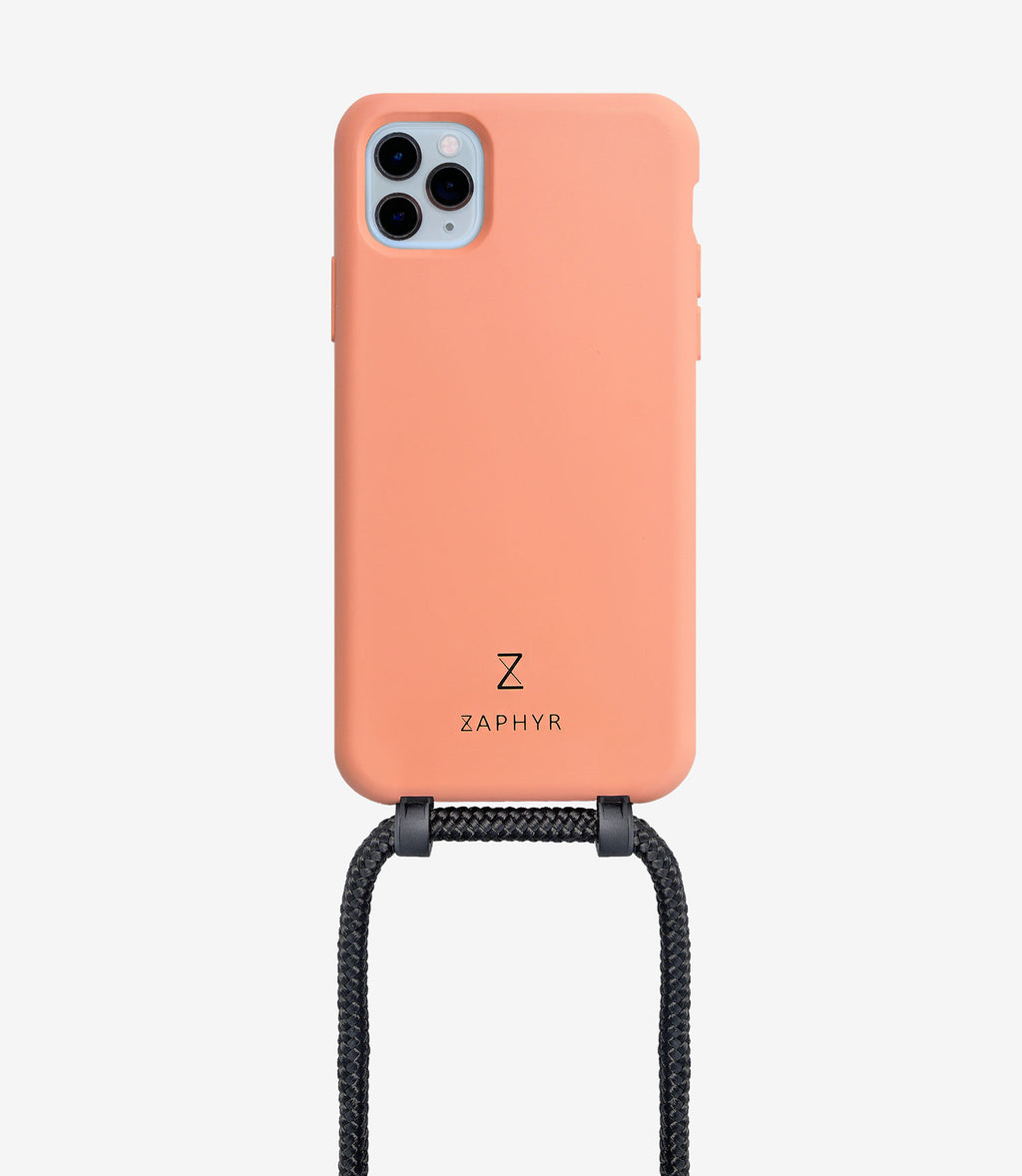 Zaphyr crossbody phone case chloe peach for iphone, black brand logo, camera  Edit alt text