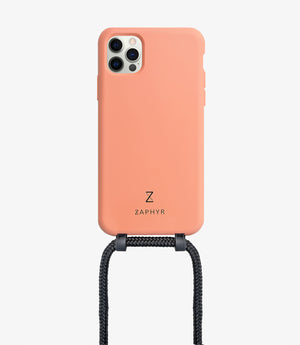 Zaphyr crossbody phone case for Apple iPhone12, iPhone 12 Pro, iPhone 12 mini, iPhone 12 Pro Max in peach with black cord