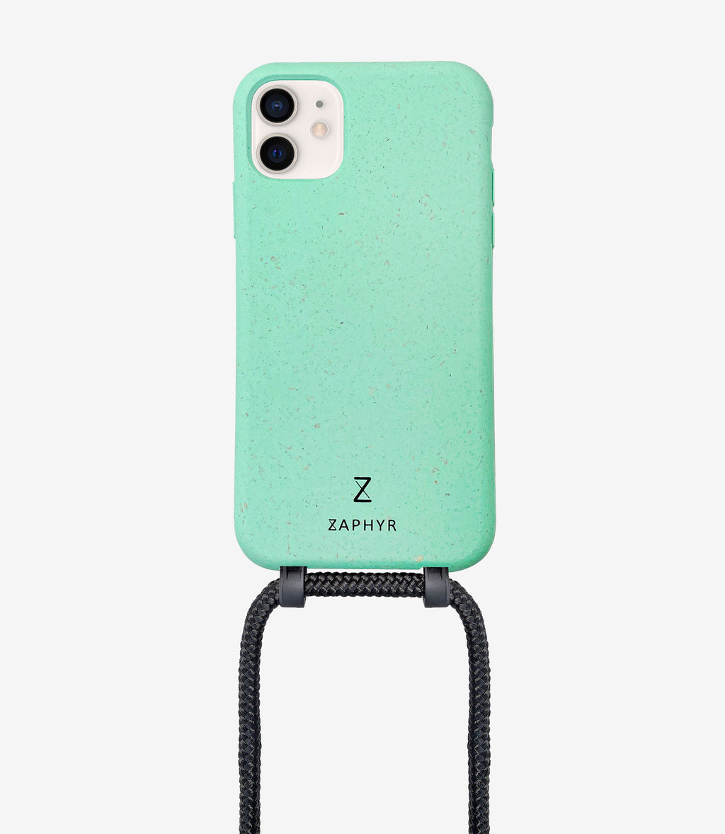ZAPHYR crossbody phone case, Handykette in mint mit Kordel in schwarz / black, necklace case