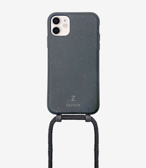 ZAPHYR crossbody phone case, Handykette in in schwarz / black mit Kordel, necklace case