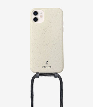 ZAPHYR biodegradable crossbody phone case, eco-friendly, Handykette in cream / beige / sand / black mit Kordel, necklace case
