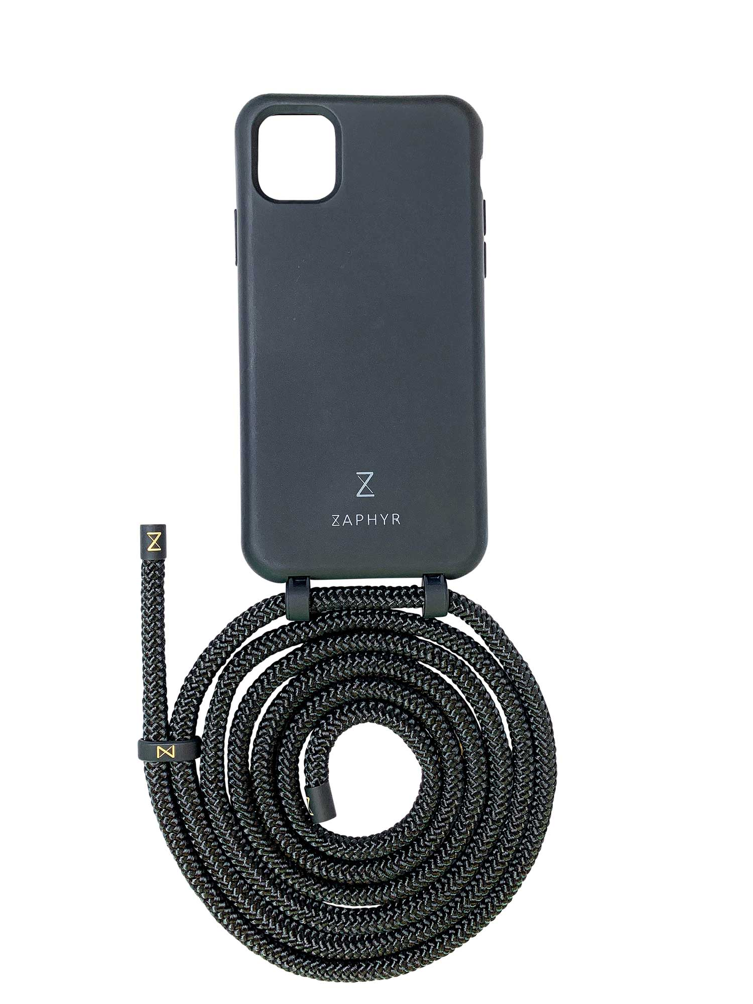 Zaphyr crossbody phone case for Apple iPhone12, iPhone 12 Pro, iPhone 12 mini, iPhone 12 Pro Max in black with black cord  Edit alt text