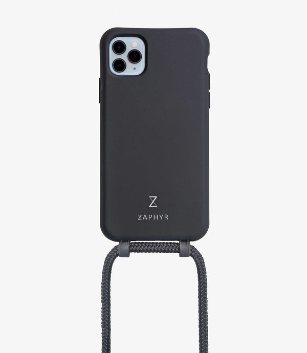 Zaphyr crossbody phone case for iphone, in black with logo brand and detachable strap, camera