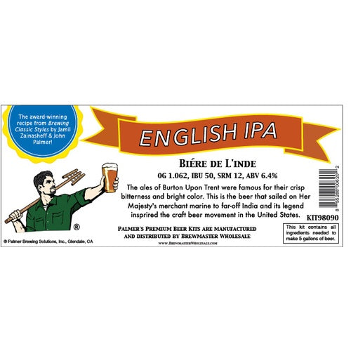 Palmer Premium Beer Kits - Biere De L'inde - English IPA