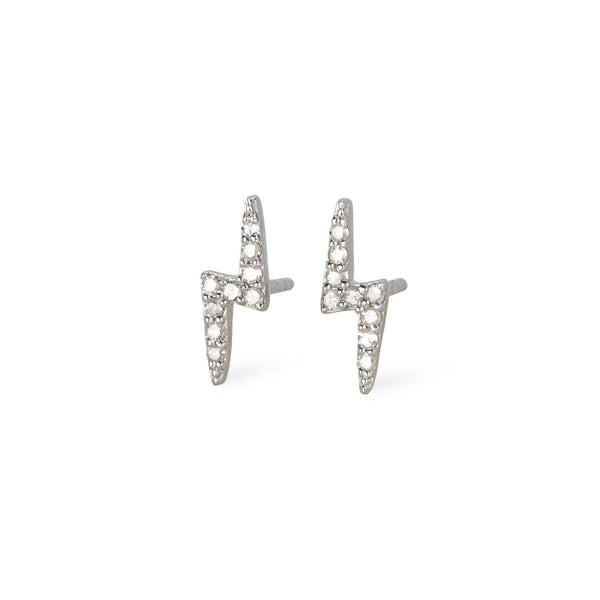 Diamond & Silver Lightning Bolt Studs