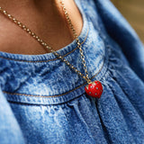 Diamond & Red Enamel Strawberry Necklace
