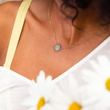 Diamond & Yellow Gold Starburst Necklace