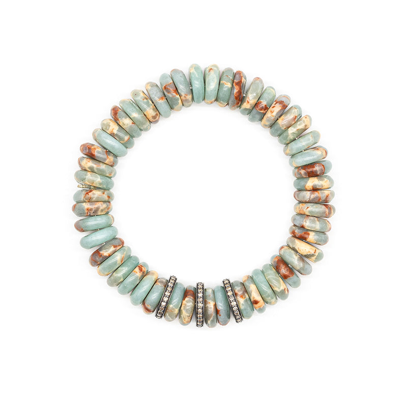 Diamond & Amazonite Bead Bracelet