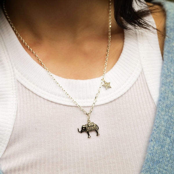 Diamond & Silver Elephant & Double-Sided Star Necklace