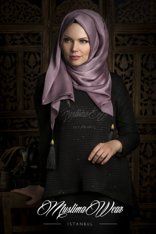 Chiffon Scarf hijab  Trend Vizon Color with decorative silk tassel.