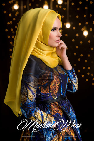 Chiffon Scarf hijab Candy Yellow Color with decorative silk tassel.