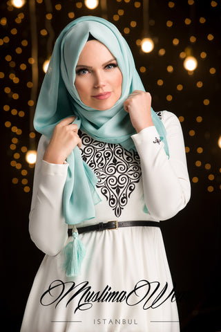 Chiffon Scarf hijab Mint Color with decorative silk tassel.