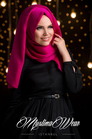 Chiffon Scarf hijab Fuchsia Color with decorative silk tassel.