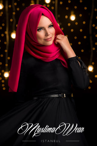 Chiffon Scarf hijab Red Rose color with decorative silk tassel.