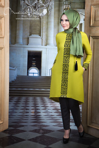 Muslima Wear. Tunic lime color with fancy black embroidery  the last one.