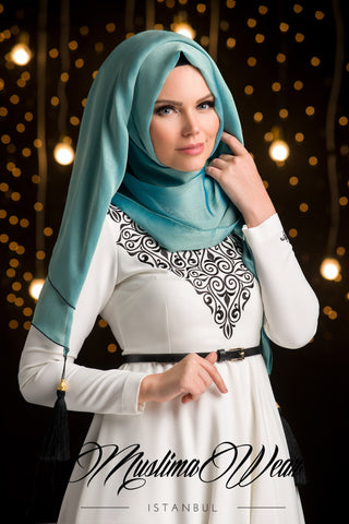 Chiffon Scarf hijab  Aquamarine color with decorative silk tassel.