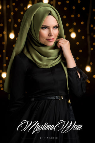 Chiffon Scarf hijab Khaki Green color with decorative silk tassel.