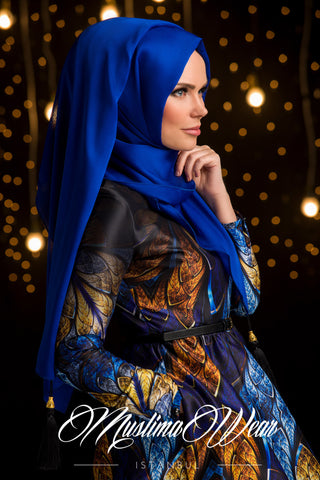 Chiffon Scarf hijab Royal Blue color with decorative silk tassel.